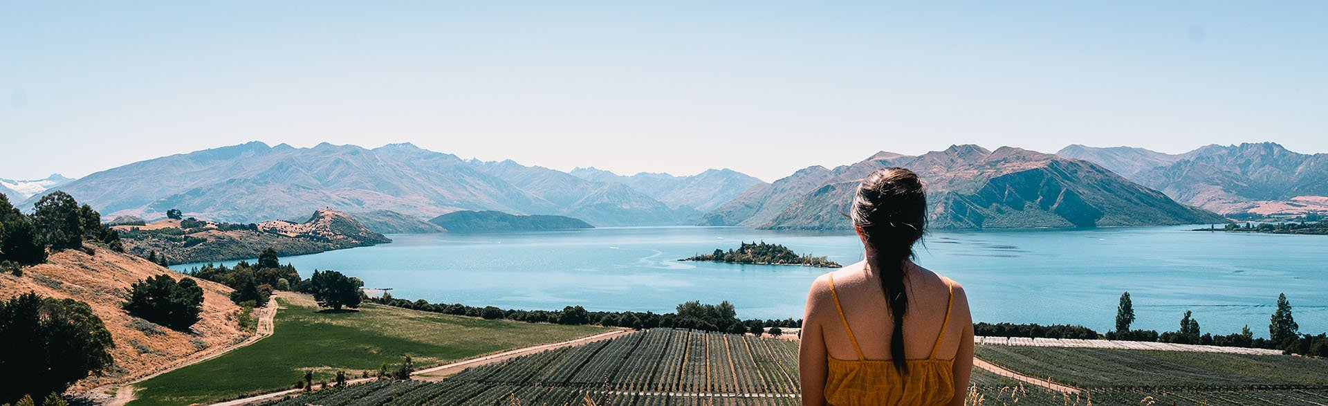 View over Lake Wanaka from Rippon Vineyard