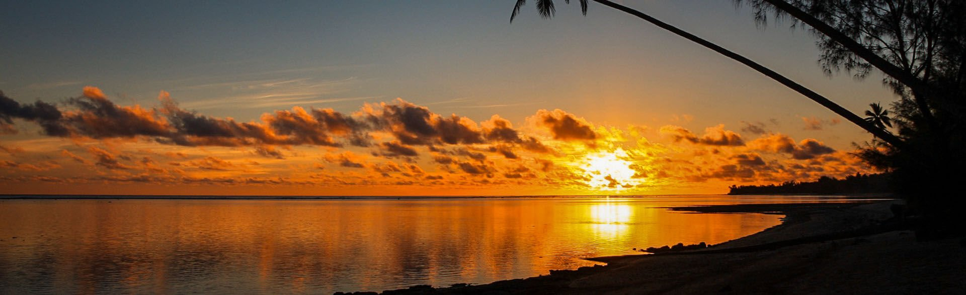 Sunset on the western side of Rarotonga.